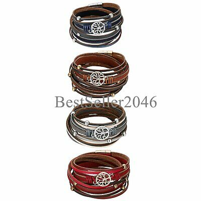 Tree of Life Boho Multilayer Leather Wide Wrap Cuff Braided Magnetic Bracelet