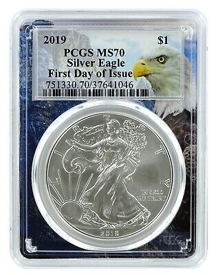 2019 1oz Silver Eagle PCGS MS70 - First Day Issue - Eagle Frame