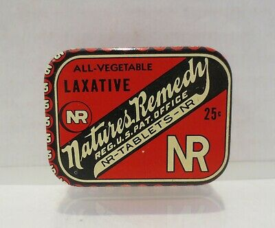 Vtg Laxative Tin Nature's Remedy Tablets Medicine EMPTY Lewis-Howe Advertising