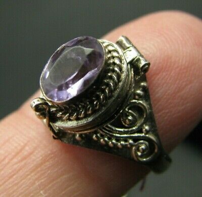 New VTG STERLING SILVER Oval .85CT AMETHYST POISON RING Hinge Opens PILL BOX 6.5