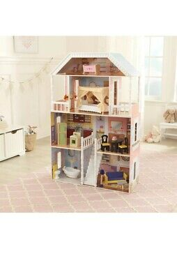 KidKraft Sweet Savannah Wooden Play House Doll Dollhouse w/ Furniture New In Box