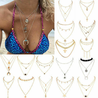 Multi layer Women's Boho Alloy Clavicle Choker Necklace Charm Chain Jewelry Gift
