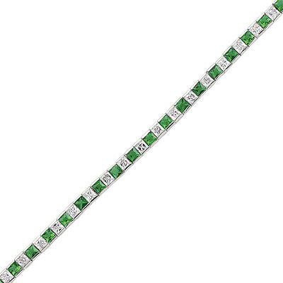 Jewelco London Argento Verde Princess Alternato Eternity Braccialetto Tennis