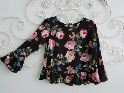 806b93b9e73c GB Girls black floral top lined, long sleeve, keyhole back Size 16 (XL
