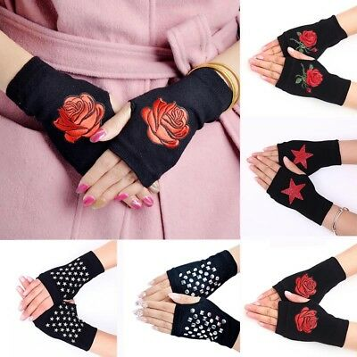 Women Flower Fingerless Mittens Knitted Gloves Casual Combed Cotton Winter Black
