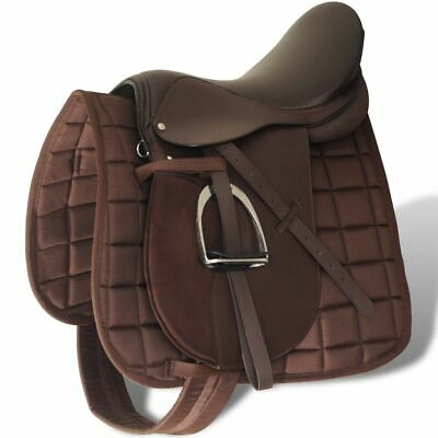 "vidaXL Set de Selle 17,5"" Cuir Véritable 12 cm 5 en 1 Brun Equitation Cheval"