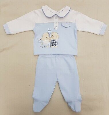 Brand new baby boys cotton baby blue/white two piece suit