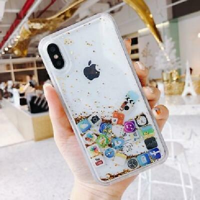 For iPhone X Xs Max Xr 8 Case Cover Cute Apps Icon Emoji Liquid Glitter