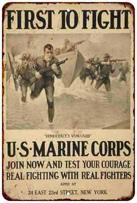 US Marine Corps First to Fight Vintage Look Reproduction Metal Sign 8 x 12