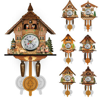 Handcraft Wood Cuckoo Clock Tree House Style Wall Clock Art Vintage Home Decor