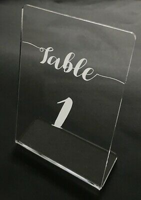Wedding Table Numbers in Clear Acrylic...Freestanding in Lauren Font