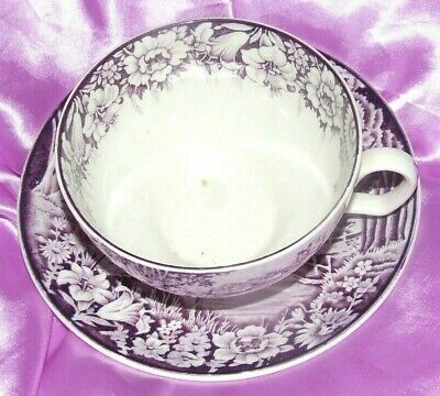 VTG Enoch Woods Purple Mulberry Castles Wood & Sons England Cup & Saucer