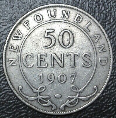 OLD CANADIAN COIN 1907 NEWFOUNDLAND - 50 CENTS - .925 SILVER - Edward VII - Nice