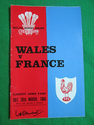 Wales V France - 26 March 1966 - Rugby Union Programme