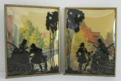 Pair Antique Reverse Painted Victorian Courtship Silhouettes on Bubble Glass 6x8