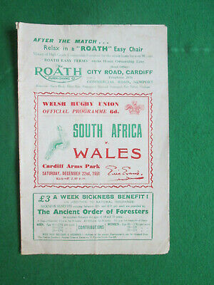 Wales V South Africa - 22 December 1951 - Rugby Union Programme