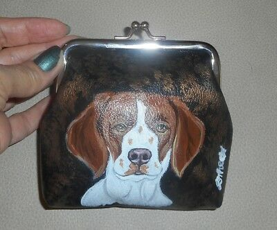Brittany Spaniel Dog Leather Clutch Coin Purse Mini wallet for Women Girls Vegan