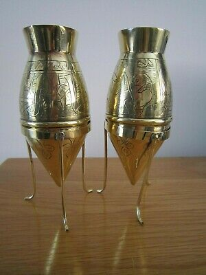antique Christopher Dresser style  brass   vases with stands arts and crafts