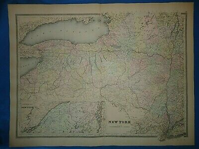Vintage 1894 NEW YORK STATE MAP Old Antique Original Folio Size Atlas Map