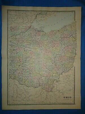 Vintage 1894 OHIO MAP Old Antique Original Folio Size Atlas Map