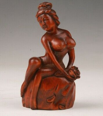Unique Chinese Boxwood Handmade Carving Belle Statue Art Gift Collection