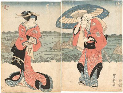Genuine original Japanese woodblock print Toyokuni I Diptych