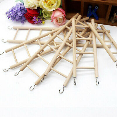 Bird Wooden Ladder Perch Climbing Cockatiel Parakeet Budgie Parrot Cage Pet Toys