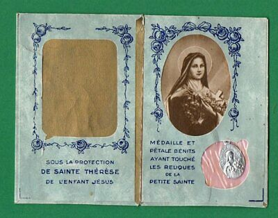 Vtg BOOKLET w/ RELICS: BLESSED MEDAL+PETAL TOUCHED RELICS ST THERESE LISIEUX