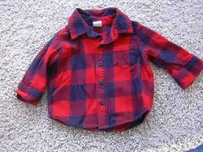 Baby Gap 3-6 mos Buffalo Plaid Button Down Shirt Top Flannel Fall EUC Boys Red