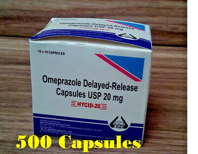 Omeprazole 20 mg OTC 500 Capsules Acid Re flux Heart Burn Reducer Treatment