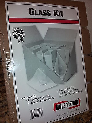 Glass Kit 12 Foam Pouches Use with small Box 1.5 cu ft New Move N Store