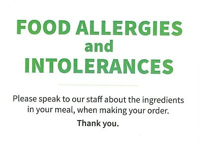 A4 Food Allergy And Intolerance's - Sign Posters.