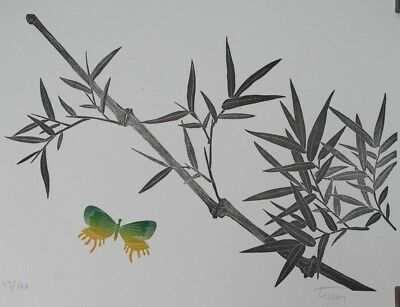BUTTERFLY & BAMBOO - ORIGINAL Japanese -style Limited Woodblock / Woodcut Print
