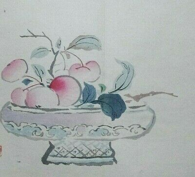 BOWL OF JAPANESE CHERRIES : ORIGINAL MEIJI JAPANESE WOODBLOCK PRINT By GYOKUSHO