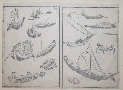 HOKUSAI MANGA - VARIOUS KINDS OF BOATS CRAFT - Genuine Woodblock Print (Woodcut)