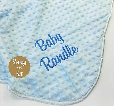 Personalised Baby Boy Name Blanket, Embroidered New Born Blue Gift, Dimple