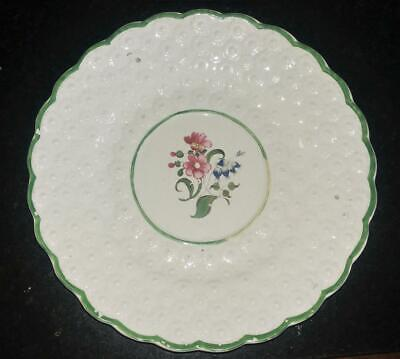 Pretty Georgian Welsh Daisy Moulded Pearlware Plate with Hand Painted Bouquet