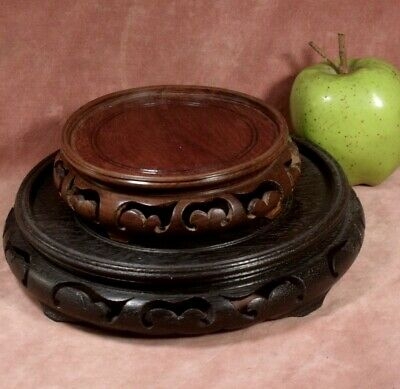 ANTIQUE TWO CHINESE CARVED WOODEN mahogany VASE STANDS circa 1920 nicely made
