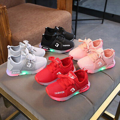 New UK Kids Boys Girls Light Up Shoes LED Flashing Trainers Casual Sneakers