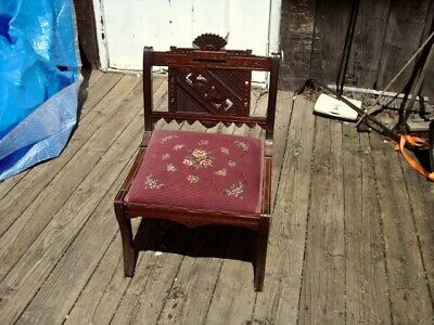 """RARE reupholstered Eastlake antique parlor chair only 27"""" tall great condition"""