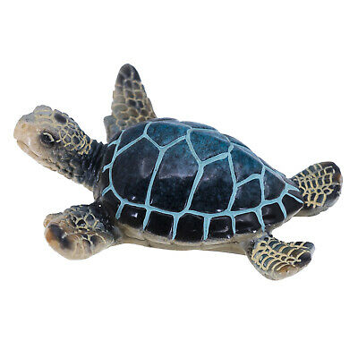 "Small Blue Sea Turtle Figurine Statue 3.5"" Wide Resin New!"