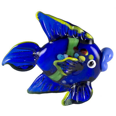 """Miniature Hand Blown Art Glass Blue Striped and Spotted Fish Figurine 2.5"""" Long"""