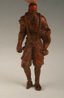 Chinese Boxwood Handmade Carved Rohan Statue Spiritual Decoration Collection