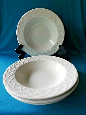 "SET OF 3 Oneida Picnic White 8 5/8"" Embossed Rim  Cereal Soup Salad Bowls"