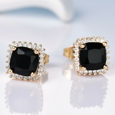 Fashion Classic Women Party Princess Black Sapphire Crystal Gold Stud Earrings