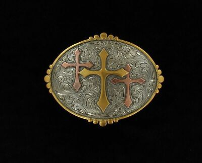 Nocona Oval Smooth Edge Three Cross Belt Buckle