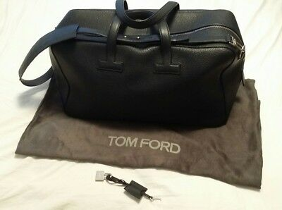 Nearly New Tom Ford T Line Grained Leather Weekender 50x29x22.5 cm Dark Navy