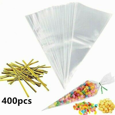 400 Pack Large Cellophane Cone Bags Cello Display Bag Lollipop Sweets CAKE POPS