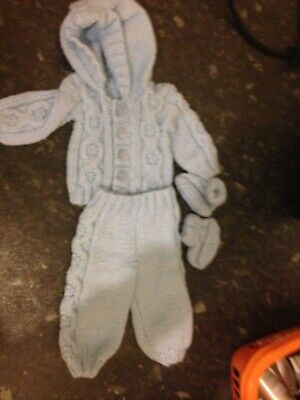 New Born Baby Outfit Blue Knitted Or Large Reborn Doll Boys Blue