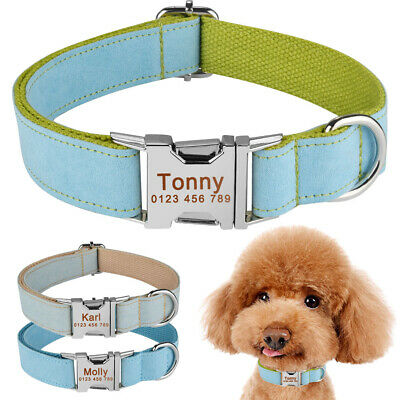Fabric Nylon Webbing Personalised Dog Collar Name ID Engraved Puppy Pet XS S M L